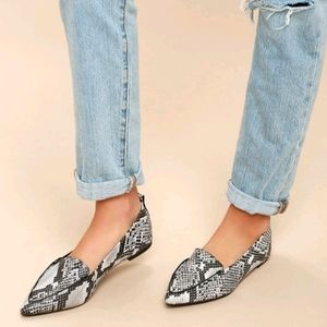 Lulu's Snake Print Pointed Loafers